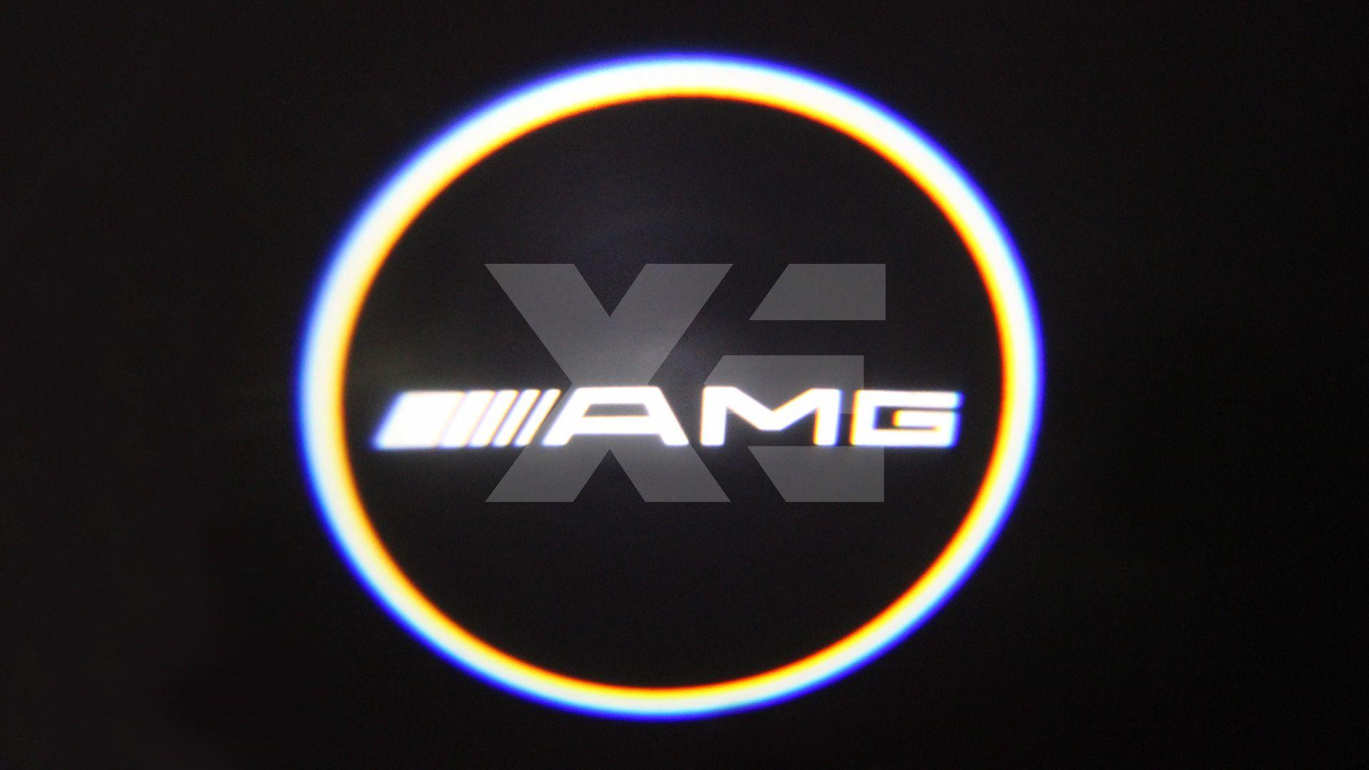 Kit Placche Led Sottoporta Proiettore Logo Mercedes AMG - Classe C W203 CLK W209 SLR R19