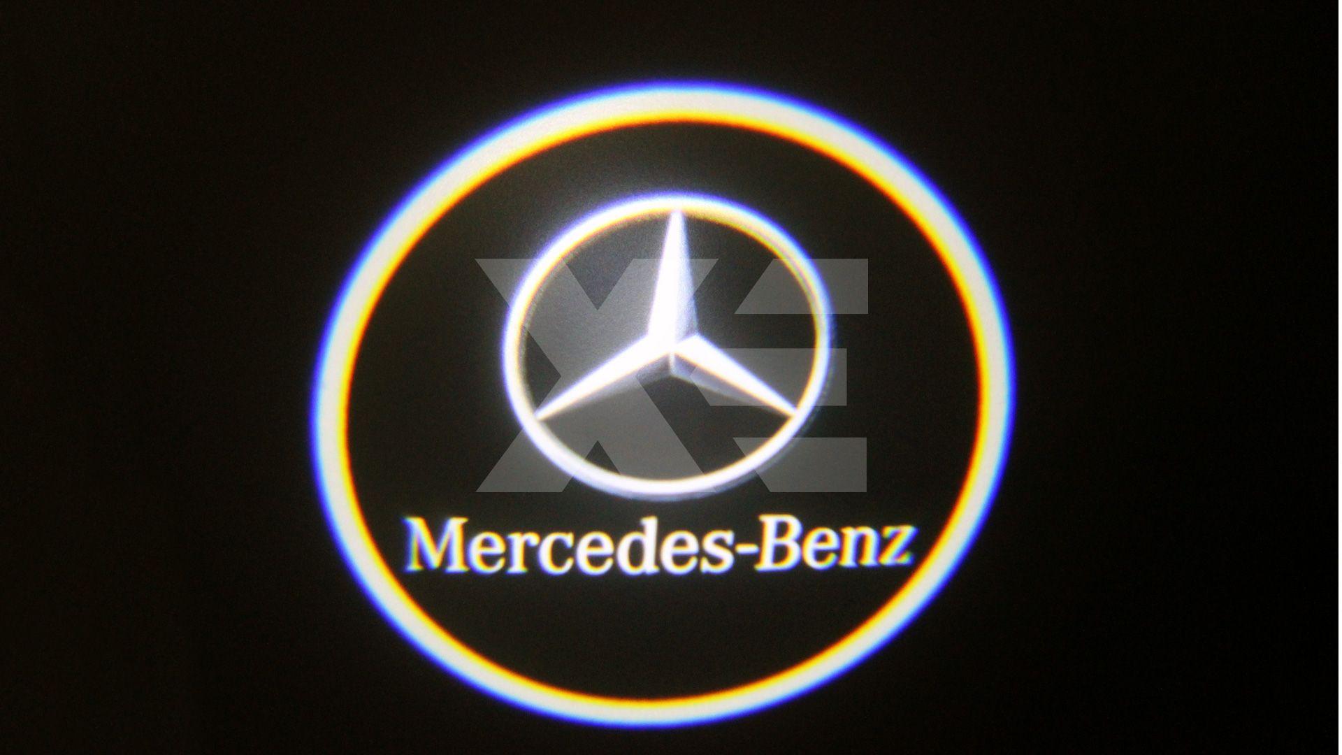 Kit Placche Led Sottoporta Proiettore Logo Mercedes - Classe C W203 CLK W209 SLR R199